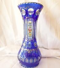 19th C. Bohemia Blue Glass Vase W/Fluted Bottom & Hand-Painted Enamel Details *Stunning*