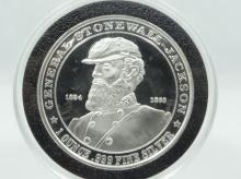 1824-1863 General Stonewall Jackson 1 Oz .999 Fine Silver Medal in Plastic Capsule *Limited Mintage/SOUTHERN HERO COLLECTION*