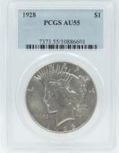 1928-P Peace Dollar in PCGS Slab Graded AU55 (#10886601) RARE/KEY DATE-ONLY 360,649 MINTED