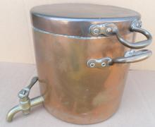 Antique HUGE Lidded Polished Copper over Brass Water/Tea Urn *Nice*