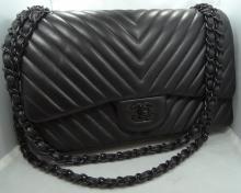 Authentic Chanel Double Flap Black Quilted Lamb Shoulder Bag W/13