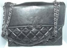 Authentic Vintage Chanel Black Quilted Lamb Shoulder Bag W/11
