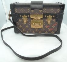 Authentic Louis Vuitton Petite Malle Monogram Trunk Purse Handbag