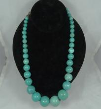 Vintage Native American Turquoise Necklace W/Sterling Silver Clasp & Tips