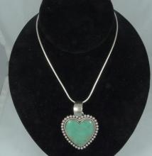Navajo Native American Sterling Silver & Turquoise Heart Necklace by Artie Yellowhorse