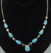 Vintage Native American Sterling Silver & Turquoise Necklace
