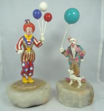 Lot of (2) Ron Lee Signed Clown Figurines on Marble Base W/Gold Gilt Details