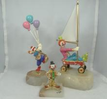 Lot of (3) Signed Clown Statues On Marble Bases W/Gold Gilt Details