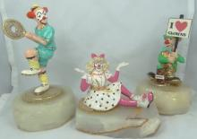 Lot of (3) Limited Edition Ron Lee Signed Clown Figurines on Marble Bases W/Gold Gilt Details