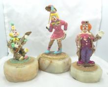 Lot of (3) Ron Lee Signed Clown Figurines on Marble Bases W/Gold Gilt Details