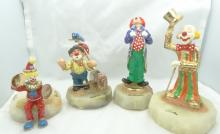 Lot of (4) Ron Lee Signed Clown Figurines on Marble Bases W/Gold Gilt Details