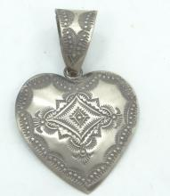 Vintage Native American Style SOLID Sterling Silver Heart Pendant Signed