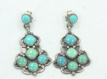 Vintage Native American SOLID Sterling Silver & Turquoise Earrings