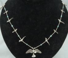 Vintage Solid Sterling Silver Bird Necklace W/Turquoise Accents