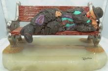 Limited Edition Ron Lee Emmett Kelly Collection Clown Sleeping on Bench Figurine on Marble Base
