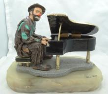 Limited Edition Ron Lee Emmett Kelly Collection Clown Playing Piano Figurine on Marble Base