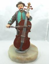 Limited Edition Ron Lee Emmett Kelly Collection Clown Playing Bass Figurine on Marble Base