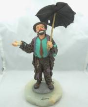 Limited Edition Ron Lee Emmett Kelly Collection Clown in the Rain Figurine on Marble Base W/Message From Ron Lee