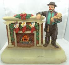 Limited Edition Ron Lee Emmett Kelly Collection Clown By Christmas Fire Figurine on Marble Base