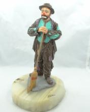 Limited Edition Ron Lee Emmett Kelly Collection Sweeping Clown Figurine on Marble Base