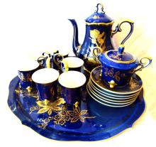 Lindner Kueps Bavaria Echt Cobalt Blue Gold Demitasse (6) Footed Tea Cup, Saucer, Tray & Tea Service Set *STUNNING*