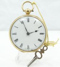 Antique SOLID 18K Yellow Gold Pocket Watch W/Key (98.4 Grams)