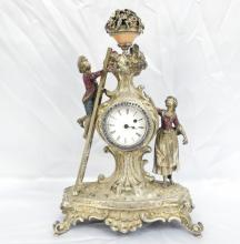 Antique Silver Over Bronze Mantle Clock W/Inlaid Diamonds, Rubies, Sapphires, Emeralds, Citrine & Pearls (Comes W/Key) RARE PIECE