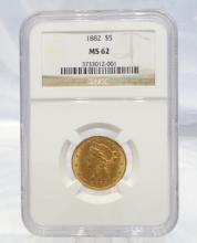 1882-P Coronet Head $5 Gold Half Eagle MS62 in NGC Slab