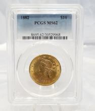 1882-P Coronet Head $10 Gold Eagle MS62 in PCGS Slab