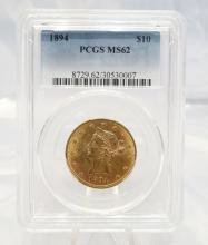 1894-P Coronet Head $10 Gold Eagle MS62 in PCGS Slab