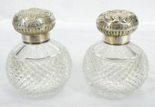 Pair of 1880's Fine English Silver & Diamond Cut Crystal Bottles