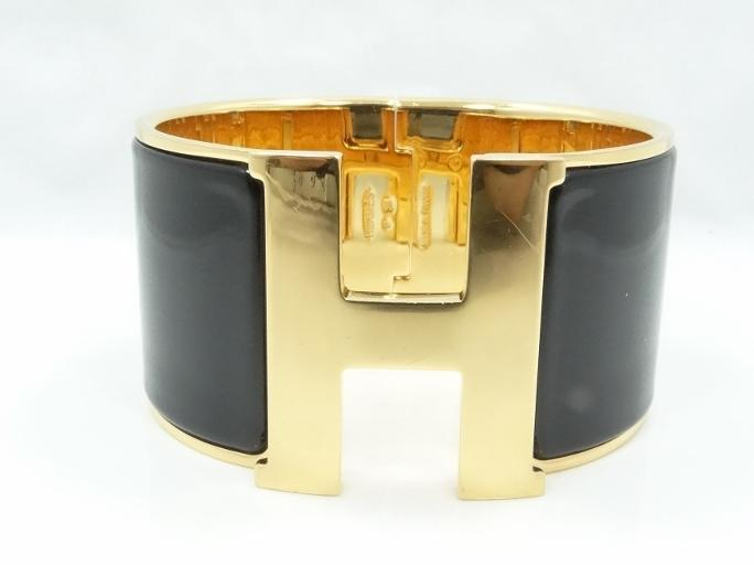 Hermes Quot Click Clack Quot 18k Overlay Amp Thick Black Enamel Bracel