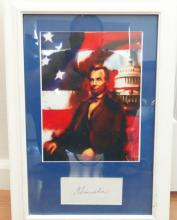 Abraham Lincoln Cut Signature Matted & Framed W/Abraham Lincoln Painting (Est. 30,000+) RARE