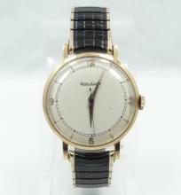 Vintage Jaeger leCoultre 14K Men's Swiss Movement Watch W/European Hallmarks & Black & Gold Speidel Band *WORKING*