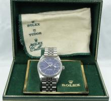 Rolex-Men's SS Datejust W/18K White Gold Fluted Bezel & Blue Dial *In Box W/Tag*