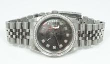 Rolex Men's SS Custom Datejust W/Tahitian Mother of Pearl Dial, Diamond Markers & Bezel in Box