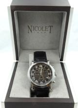 Nicolet Men's Chronograph Watch W/Date Display on Black Leather Band In Box