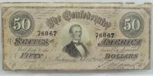Civil War Era Richmond Feb. 17 1864 $50 Confederate Currency Note.
