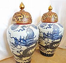 Pair of Vietnamese Bleu de Hue Porcelain Empire Floor Vases W/Heavy 24K Gold Gilt & Cinnabar Lacquer Wooden Tops Gift From Empress Dowager Doan Huy