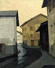 MAFLI Walter, *1915 [CH]. - Village sous la pluie à Santa Maria dans les Grisons, (19)81,