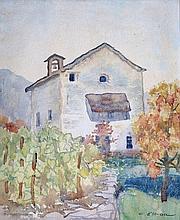 OLSOMMER Charles-Clos, 1883-1966 [CH]. Maison en montagne,  aquarelle sur papier (37 x 30 cm).