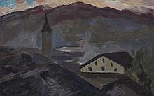 BIÉLER Ernest,  1863-1948 [CH]. Village et église de Saint-Germain, Savièse,  huile sur carton (33.5 x 48.5 cm).