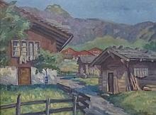GEHRI Franz,  1882-1960 [CH]. Paysage en montagne,  huile sur toile (56 x 75 cm).