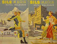 PEIKERT Martin,  1901-1975 [CH]. Ensemble de vingt-huit dépliants, prospectus touristiques et cartes de voeux pour des institutions des Grisons et de Saint-Gall,  diverses dimensions.
