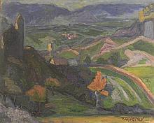 ZUFFEREY Christiane, 1920- 2011 [CH]. Paysage valaisan,  huile sur panneau (39.5 x 49.5 cm).