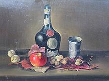 MENGE Charles,  1920-2009 [CH]. Nature morte d'automne,  huile sur panneau (41 x 56 cm).