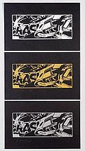 CRASH, John Crash Matos, *1961 [USA]. Sans titre, 20(08),  Lot de trois sérigraphies (white, chrome, gold) sur papier (28 x 43.5 cm chaque).