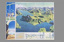 PEIKERT Martin,  1901-1975 [CH]. Dépliant touristique pour Bürgenstock,  héliographie couleurs (Plié 22 x 11 cm).