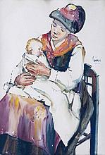 CINI Alfredo,  1887-1970 [CH]. Saviésanne et enfant,  aquarelle sur papier (57.5 x 40 cm).
