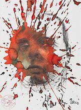 PASQUA Philippe, *1965 [FR]. Portrait masculin, 2010,  technique mixte sur papier (39 x 29 cm).